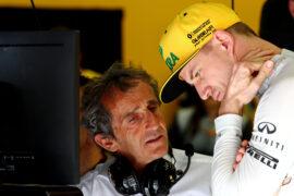 Alain Prost (FRA) Renault Sport F1 Team Special Advisor with Nico Hulkenberg (GER) Renault Sport F1 Team. Bahrain Grand Prix, Saturday 15th April 2017. Sakhir, Bahrain.