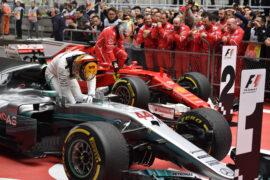 Formula One - Mercedes-AMG Petronas Motorsport, Chinese GP 2017. Lewis Hamilton; Ferrari Sebastian Vettel