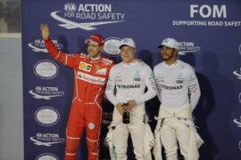 Top 3 qualifiers 2017 Bahrain GP: 1. Bottas, 2. Hamilton, 3. Vettel