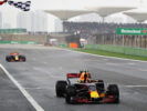 Max Verstappen crosses the line ahead of Daniel Ricciardo of Red Bull Racing Red Bull-TAG Heuer RB13 TAG Heuer to take third place during the Formula One Grand Prix of China at Shanghai International Circuit on April 9, 2017 in Shanghai, China.