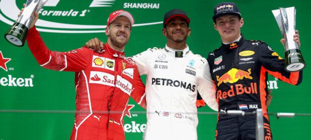 2017 Chinese GP podium: 1. L. Hamilton (Mercedes), 2. Sebastian Vettel (Ferrari), 3. Max Verstappen (Red Bull)