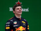 Max Verstappen celebrates his third place finish on the podium during the Formula One Grand Prix of China at Shanghai International Circuit on April 9, 2017 in Shanghai, China.