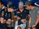 Max Verstappen, Carlos Sainz and Fernando Alonso talk before the Bahrain Formula One Grand Prix at Bahrain International Circuit on April 16, 2017 in Bahrain, Bahrain.