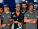 Carlos Sainz and Fernando Alonso wait for the drivers parade before the Bahrain Formula One Grand Prix at Bahrain International Circuit on April 16, 2017 in Bahrain, Bahrain.