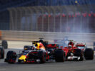 Daniel Ricciardo of Red Bull Racing Red Bull-TAG Heuer RB13 TAG Heuer leads Kimi Raikkonen driving the (7) Scuderia Ferrari SF70H on track during the Bahrain Formula One Grand Prix at Bahrain International Circuit on April 16, 2017 in Bahrain, Bahrain.
