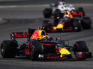 Max Verstappen of Red Bull Racing Red Bull-TAG Heuer RB13 TAG Heuer leads Daniel Ricciardo of Red Bull Racing Red Bull-TAG Heuer RB13 TAG Heuer on track during the Bahrain Formula One Grand Prix at Bahrain International Circuit on April 16, 2017 in Bahrain, Bahrain.