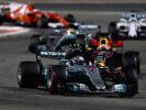 Valtteri Bottas driving the (77) Mercedes AMG Petronas F1 Team Mercedes F1 WO8 leads Daniel Ricciardo driving the (3) Red Bull Racing Red Bull-TAG Heuer RB13 TAG Heuer on track during the Bahrain Formula One Grand Prix at Bahrain International Circuit on April 16, 2017 in Bahrain, Bahrain.