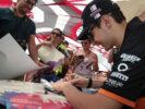 Esteban Ocon (FRA) Sahara Force India F1 Team signs autographs for the fans. Bahrain Grand Prix, Saturday 15th April 2017. Sakhir, Bahrain.