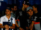 Felipe Massa (BRA) Williams with Esteban Ocon (FRA) Sahara Force India F1 Team and Sergio Perez (MEX) Sahara Force India F1 on the drivers parade. Bahrain Grand Prix, Sunday 17th April 2017. Sakhir, Bahrain.