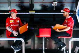 Ferrari Kimi Raikkonen & Sebastian Vettel Russian GP Sochi 2017