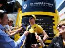Nico Hulkenberg (GER) Renault Sport F1 Team with the media. Spanish Grand Prix, Thursday 11th May 2017. Barcelona, Spain.
