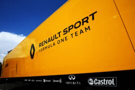 Renault Sport F1 Team trucks in the paddock. Spanish Grand Prix, Thursday 11th May 2017. Barcelona, Spain.