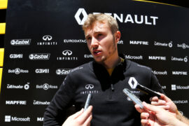 Sergey Sirotkin (RUS) Renault Sport F1 Team Third Driver with the media. Spanish Grand Prix, Friday 12th May 2017. Barcelona, Spain.