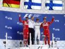 Sochi Autodrom, Sochi, Russia. Sunday 30 April 2017. Valtteri Bottas; Sebastian Vettel ; Kimi Raikkonen