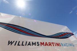 Williams Circuit de Catalunya, Barcelona, Spain. Friday 12 May 2017. Logo on the team trucks.