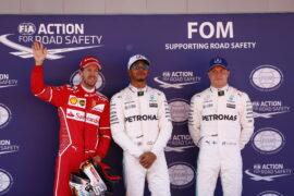 Top 3 qualifiers 2017 Spanish GP:<br> 1. Hamilton 2. Vettel 3. Bottas