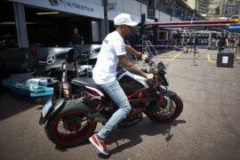 Hamilton crashes during motorbike test