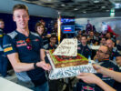 Daniil Kvyat of Scuderia Toro Rosso and Russia celebrates his birthday during previews to the Formula One Grand Prix of Russia on April 27, 2017 in Sochi, Russia.