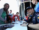 Max Verstappen of Netherlands and Red Bull Racing signs autographs for fans during previews to the Formula One Grand Prix of Russia on April 27, 2017 in Sochi, Russia.