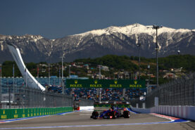 Daniil Kvyat of Russia driving the (26) Scuderia Toro Rosso STR12 on track during final practice for the Formula One Grand Prix of Russia on April 29, 2017 in Sochi, Russia.