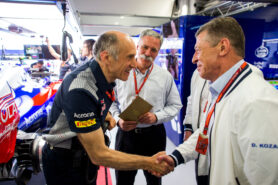 Franz Tost of Scuderia Toro Rosso and Austria with Chase Carey of Liberty Media and USA with Dmitriy Kozak, Deputy Prime Minister of Russia during qualifying for the Formula One Grand Prix of Russia on April 29, 2017 in Sochi, Russia.