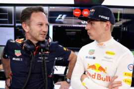 Max Verstappen of Netherlands and Red Bull Racing talks with Red Bull Racing Team Principal Christian Horner in the garage during qualifying for the Formula One Grand Prix of Russia on April 29, 2017 in Sochi, Russia.