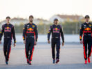 Daniel Ricciard - Max Verstappen of Red Bull Racing, Carlos Sainz - Daniil Kvyat of Scuderia Toro Rosso pose for a photo during previews to the Formula One Grand Prix of Russia on April 27, 2017 in Sochi, Russia.