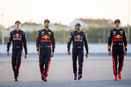 Daniel Ricciard - Max Verstappen of Red Bull Racing, Carlos Sainz - Daniil Kvyat of Scuderia Toro Rosso pose for a photo during previews to the Formula One Grand Prix of Russia on April 27, 2017 in Sochi, Russia.
