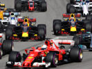 Max Verstappen of Red Bull Racing Red Bull-TAG Heuer RB13 TAG Heuer and Daniel Ricciardo of Australia driving the (3) Red Bull Racing Red Bull-TAG Heuer RB13 TAG Heuer at the start during the Formula One Grand Prix of Russia on April 30, 2017 in Sochi, Russia.