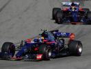 Carlos Sainz of Spain driving the (55) Scuderia Toro Rosso STR12 leads Daniil Kvyat of Russia driving the (26) Scuderia Toro Rosso STR12 on track during the Formula One Grand Prix of Russia on April 30, 2017 in Sochi, Russia.