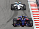 Daniil Kvyat of Russia driving the (26) Scuderia Toro Rosso STR12 leads Lance Stroll of Canada driving the (18) Williams Martini Racing Williams FW40 Mercedes on track during the Formula One Grand Prix of Russia on April 30, 2017 in Sochi, Russia.