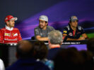 The Drivers Press Conference with Sebastian Vettel of Ferrari, Fernando Alonso of McLaren Honda and Carlos Sainz of Scuderia Toro Rosso during previews for the Spanish Formula One Grand Prix at Circuit de Catalunya on May 11, 2017 in Montmelo, Spain.