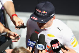 Max Verstappen of Netherlands and Red Bull Racing talks to the media during practice for the Spanish Formula One Grand Prix at Circuit de Catalunya on May 12, 2017 in Montmelo, Spain.