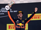 Third placed finisher Daniel Ricciardo of Australia and Red Bull Racing celebrates on the podium during the Spanish Formula One Grand Prix at Circuit de Catalunya on May 14, 2017 in Montmelo, Spain.