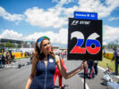 aniil Kvyat of Scuderia Toro Rosso and Russia grid girl during the Spanish Formula One Grand Prix at Circuit de Catalunya on May 14, 2017 in Montmelo, Spain.