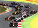 Daniel Ricciardo leads Fernando Alonso, Felipe Massa and others into turn two at the start during the Spanish Formula One Grand Prix at Circuit de Catalunya on May 14, 2017 in Montmelo, Spain.