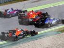Daniil Kvyat, Kimi Raikkonen, Max Verstappen, Marcus Ericsson and Stoffel Vandoorne during the Spanish Formula One Grand Prix at Circuit de Catalunya on May 14, 2017 in Montmelo, Spain.
