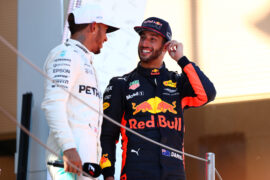 Daniel Ricciardo of Australia and Red Bull Racing and Lewis Hamilton of Great Britain and Mercedes GP talk on the podium during the Spanish Formula One Grand Prix at Circuit de Catalunya on May 14, 2017 in Montmelo, Spain.
