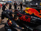 Daniel Ricciardo of Australia driving the (3) Red Bull Racing Red Bull-TAG Heuer RB13 TAG Heuer stopped in the Pitlane during practice for the Monaco Formula One Grand Prix at Circuit de Monaco on May 25, 2017 in Monte-Carlo, Monaco.