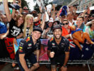 Daniel Ricciardo of Australia and Red Bull Racing and Max Verstappen of Netherlands and Red Bull Racing pose for a photo with fans during previews to the Monaco Formula One Grand Prix at Circuit de Monaco on May 26, 2017 in Monte-Carlo, Monaco.