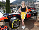 Model Kate Upton on the Red Bull Racing Energy Station during qualifying for the Monaco Formula One Grand Prix at Circuit de Monaco on May 27, 2017 in Monte-Carlo, Monaco.