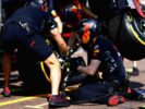 The Red Bull Racing team practice pit stops before final practice for the Monaco Formula One Grand Prix at Circuit de Monaco on May 27, 2017 in Monte-Carlo, Monaco.