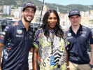 Tennis superstar Serena Williams with Daniel Ricciardo of Australia and Red Bull Racing and Max Verstappen of Netherlands and Red Bull Racing during the Monaco Formula One Grand Prix at Circuit de Monaco on May 28, 2017 in Monte-Carlo, Monaco.