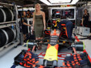 Skiing superstar Lindsey Vonn in the Red Bull Racing garage during the Monaco Formula One Grand Prix at Circuit de Monaco on May 28, 2017 in Monte-Carlo, Monaco.