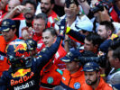 Daniel Ricciardo of Australia and Red Bull Racing celebrates finishing in third position with his team in parc ferme during the Monaco Formula One Grand Prix at Circuit de Monaco on May 28, 2017 in Monte-Carlo, Monaco.