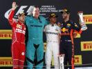 Podium Spanish GP F1 2017 Lewis Hamilton Sebastian Vettel Daniel Ricciardo