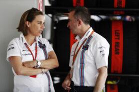 Sochi Autodrom, Sochi, Russia. Sunday 30 April 2017. Claire Williams, Deputy Team Principal, Williams Martini Racing, with Paddy Lowe, Williams Martini Racing Formula 1.