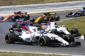 Circuit de Catalunya, Barcelona, Spain. Sunday 14 May 2017. Felipe Massa, Williams FW40 Mercedes, leads Lance Stroll, Williams FW40 Mercedes.