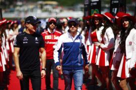 Sochi Autodrom, Sochi, Russia. Sunday 30 April 2017. Felipe Massa, Williams Martini Racing, with Valtteri Bottas, Mercedes AMG, in the drivers parade.