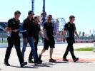 Esteban Ocon Sahara Force India F1 Team walks the circuit with the team. Russian Grand Prix, Thursday 27th April 2017. Sochi Autodrom, Sochi, Russia.